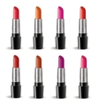 Lipstick realistic package set isolated on white vector image
