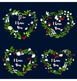 Love heart with flowers for Valentine Day design vector image