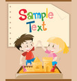 paper template with kids playing sand vector image