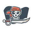 pirate skull with saber vector image