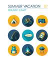 summer camping flat icon set holiday vector image