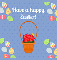 happy easter blue card with eggs vector image vector image
