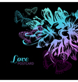 Floral love card vector image
