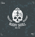 Rugby team skull emblem vector image vector image
