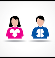 Male Female icon having heart and brain vector image