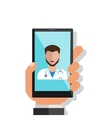 Hand holding smartphone with male doctor on call vector image