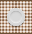 plate on tablecloth vector image