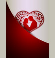 red white design with silhouettes of two lovers vector image