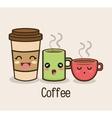 set cartoon cup coffee design vector image