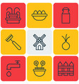 set of 9 farm icons includes barrier mill jug vector image