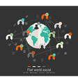 Flat design concept with world map and social vector image vector image
