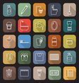 Bathroom line flat icons with long shadow vector image