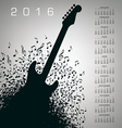 2016 Notes Guitar Calendar vector image vector image