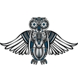 Hand-Drawn Owl with abstract pattern vector image vector image