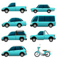 different types of transportations in light blue vector image