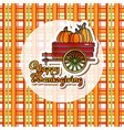thanksgiving card with pumpkins in vector image