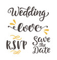 wedding day invitations lettering set vector image