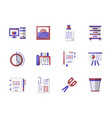 workspace accessories flat color icons set vector image