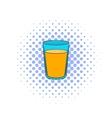 Glass of orange juice icon comics style vector image