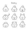 Children faces icon set vector image