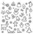 christmas icon set doodle christmas holiday vector image