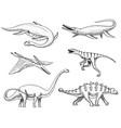 dinosaurs elasmosaurus mosasaurus barosaurus vector image