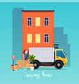 moving truck and cardboard boxes moving house vector image