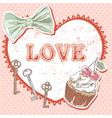 Valentine romantic retro card vector image