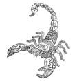 Zentangle scorpion Black and white zentangle art vector image