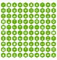 100 holidays icons hexagon green vector image