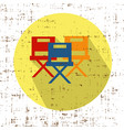 movie chairs icon with screen grunge retro vector image