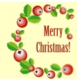 Christmas wreath with holly berry vector image