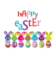 easter eggs and bunny colorful greeting card vector image vector image