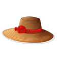 A brown fashion hat with a red ribbon vector image