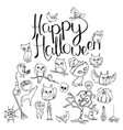 black and white halloween symbols and calligraphy vector image