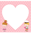 Boy and girl with white blank vector image