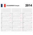 Calendar 2014 French Type 19B vector image
