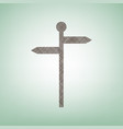direction road sign brown flax icon on vector image