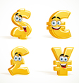 Monetary signs smiling emoticons dollar pound euro vector image