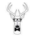 portrait deer hipster style glasses vector image
