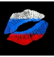 Russian Lipstick kiss on black background vector image
