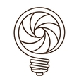 silhouette light bulb flat icon with spiral shape vector image