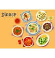 Meat and seafood dishes icon for menu design vector image