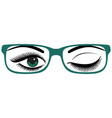 beautiful womens green eyes with glasses vector image