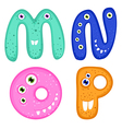 Funny Toothy Monster Alphabet from M to P vector image