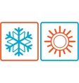 snowflake and sun icons vector image