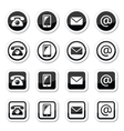 Contact icons in circle and square set - mobile p vector image vector image