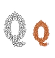 Letter Q in a foliate font vector image