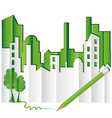 abstract green city vector image