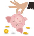 Businessman Taking Money Out of Cute Piggy Bank vector image vector image